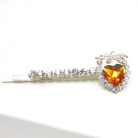 Clear Rhinestone Amber Heart Silver Tone Bobby Pins Hair Accessories Clip Vintage Bobby Pins Barrettes Adornments Mothers Day Gift Idea
