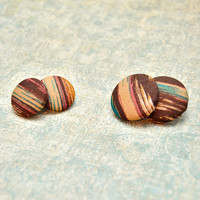 Brown Multicolor Abstract Button Earrings, Fabric Jewelry, Clip-On, Pierced, Non Pierced, Womens Teen Fall Jewelry, Wife Girlfriend Mom Gift