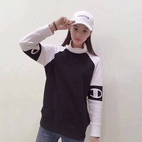 Champion Woman Men Fashion High-Necked Top Sweater Pullover