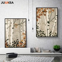 Natural Rural Pastoral Style Herbstlandschaft Plant Trees, Canvas Print Painting Poster Art, Wall Pictures for Living Room Decor