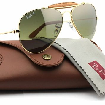 Ray-Ban RB3422Q 001/M9 OUTDOORSMAN CRAFT Gold Frame / Polarized Green Lens 58mm