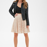 FOREVER 21 Floral Lace A-Line Skirt