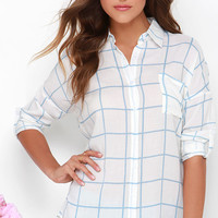 Park Picnic Light Blue and Ivory Grid Print Button-Up Top