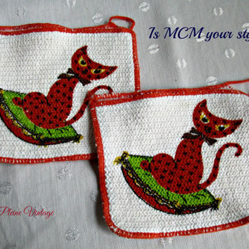 Pot Holders Hot Pads Double Sided Vintage Mid Century Orange Siamese Cats