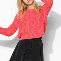 BDG Cable-Knit Cropped Sweater - Urban Outfitters