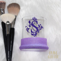 Personalized Initial // Glitter Dipped Makeup Brush Holder
