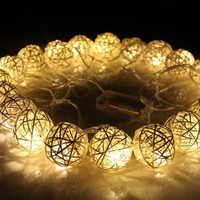 20 LED 250cm Warm White Rattan Ball String Fairy Lights For Christmas Xmas Wedding Decoration Party Hot Dry Battery