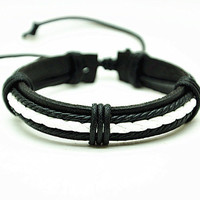 Real Leather Cotton Ropes Woven Bracelet, Men Leather Jewelry Bangle Cuff Bracelet, Women Leather Bracelet  RZ0317