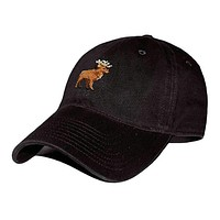 Stag Needlepoint Hat in Black by Smathers & Branson