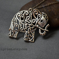 Silver Elephant Charm Pendant Necklace / Filigree elephant / Silver Elephant necklace / Elephant pendant / Silver Chain