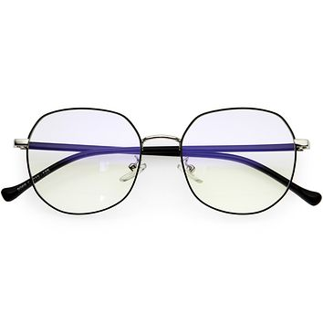 Geometric Ultra Thin Metal Frame Polygon Blue Light Glasses D220