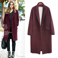 2016 Autumn Winter Fashion Women Wool Coat Loose Imitation Cashmere Outerwear Padded Lining Overcoat