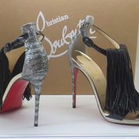 $1095 Christian Louboutin CASANOVELLA 120 Black Silver Sandals Shoes Heels 36.5