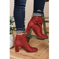 Carefree Days Faux Suede Zip Up Booties (Rust)