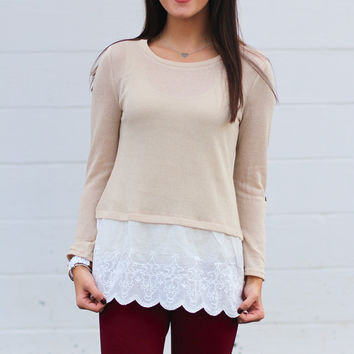 Lovely Lace Knit Top {Natural}