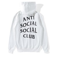 """ANTI SOCIAL SOCIAL CLUB""Letter Print Popular Women Men Leisure Hoodie Top Sweater White"