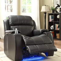 Power Reclining Chair with Massage, LED & Cup Cooler - Black