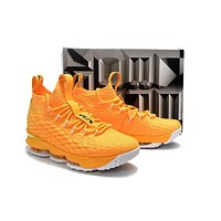 Nike LeBron 15 XV Yellow Basketball Shoe