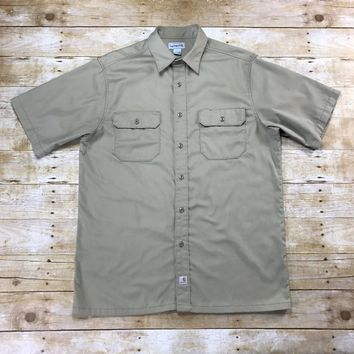 Carhartt Khaki Button Up Short Sleeve Uniform Work Shirt Mens Size Large