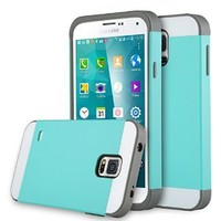 Galaxy S5 Case, S5 Case, ULAK 2in1 Hybrid Dual Layer Slim Protective Case Cover for Samsung Galaxy S5 / Galaxy SV / Galaxy S V / Galaxy i9600 2014 (Plastic Hard Shell and Flexible TPU) Light Blue/Gray