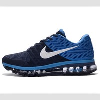 NIKE fashion casual shoes sports shock absorbing running shoes Dark Blue white hook