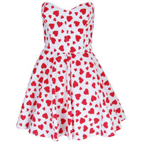 Red Heart Print Prom Dress | Style Icon`s Closet