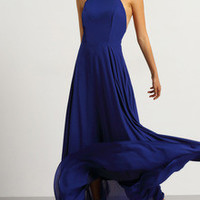 Blue Spaghetti Strap Backless Maxi Dress