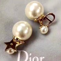 Free shipping-Dior CD letter women's wild pearl stud earrings
