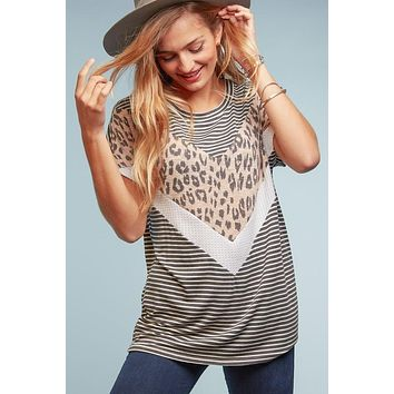 Charcoal Striped and Pink Leopard Plus Top (1X-3X)