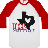 Texas Sweetheart-Unisex White/Red T-Shirt