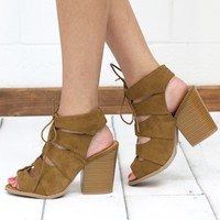 Barnes Lace Up Strappy Sandals {Tan}