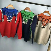 Gucci Fashion Monogram Print Long Sleeve Splicing Knit Pullover Sweater G-G-JGYF