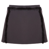 Black Fur Mini Skirt
