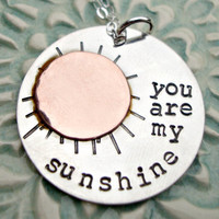 Hand Stamped Mommy Necklace - You Are My Sunshine