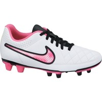 Nike Women's Tiempo Rio II FG Soccer Cleat - White/Pink/Silver   DICK'S Sporting Goods