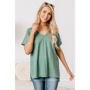 In Theory Basic V Neck Top | Dark Teal