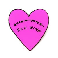 VALLEY CRUISE PRESS RED WINE HEART PIN