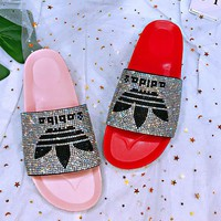 ADIDAS Slippers Women Colorful Diamond Shining Slippers B-XHYMX Pink/Red