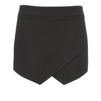 Solid Black Cross Front Skort - Black
