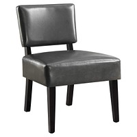 """Accent Chair - 27'.5"""" x 22'.75"""" x 31'.5"""" Charcoal, Foam, Solid Wood, Leather-Look - Accent Chair"""