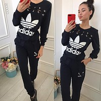 ADIDAS Women Fashion Long Sleeve Shirt Top Tee Trousers Pants Trousers Set Two Piece