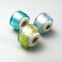 handmade lampwork Large Hole Charm Bead 3 Foil by TheBeadYouNeed