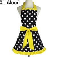 XiuMood Fashion Ladies Diameter 2.5cm Dots Cotton Apron Yellow Lace With Pocket Kitchen Cooking Aprons For Woman Waiter