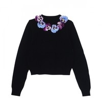 pansy knit pullover