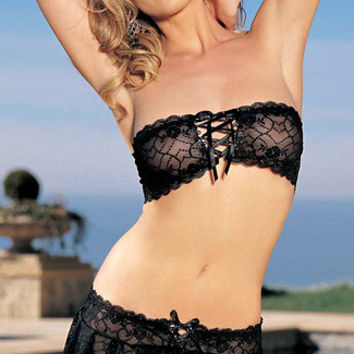Black Floral Lace Bandeau Top and Panty Skirt Bottom