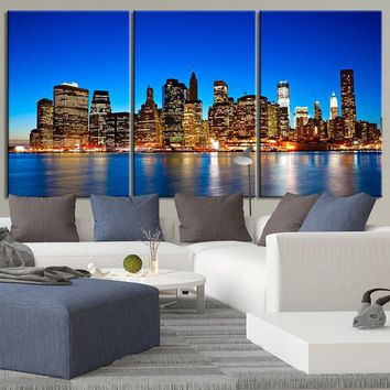 LARGE Wall Art Canvas Print Night View of Manhattan New York City Contemporary 3 Panel Triptych