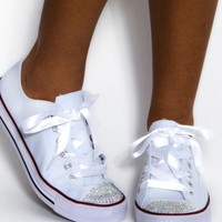 Verse White Crystal Toe Canvas Trainers | Pink Boutique
