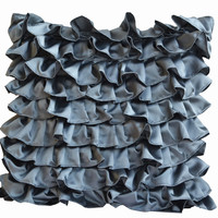 Handmade Pillow Cover In Dark Grey With Ruffles Gifts For Wedding