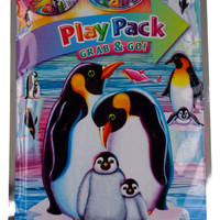 Lisa Frank Penguins Play Pack Lot 3 Grab Go Coloring Book Crayons Stickers