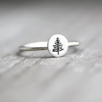 Evergreen Tree Ring, Northwoods Pine Tree Ring, Pine Tree Ring, Tree Stack Ring, Sterling Tree Ring, Silver Stack Ring, Womens Stack Ring